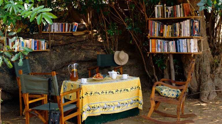 Tea in the library under the shade of a large mahogany, Kutandala Camp.